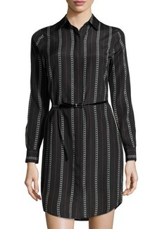MICHAEL Michael Kors Chain Link-Print Belted Long-Sleeve Shirtdress
