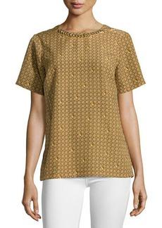 MICHAEL Michael Kors Chain-Neck Printed Short-Sleeve Blouse
