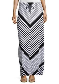MICHAEL Michael Kors Chevron Drawstring Maxi Skirt