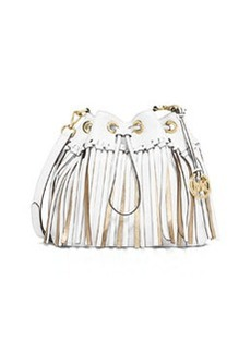 MICHAEL Michael Kors Christy Medium Drawstring Messenger Bag, Optic White/Gold