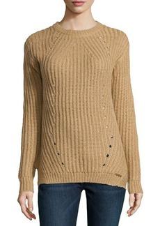 MICHAEL Michael Kors Chunky Crewneck Pointelle Sweater