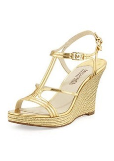 MICHAEL Michael Kors Cicely Wedge Sandal, Pale Gold