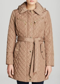 MICHAEL Michael Kors Coat - Missy Quilted Belted Trench