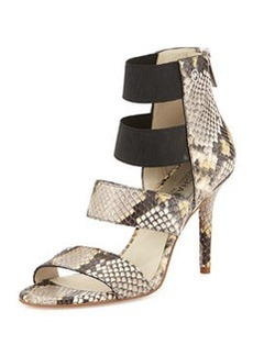 MICHAEL Michael Kors Codie Snake-Embossed Leather Sandal, Gray