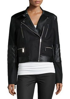 MICHAEL Michael Kors Combo Moto Jacket W/ Faux-Leather Detail  Combo Moto Jacket W/ Faux-Leather Detail