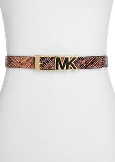MICHAEL Michael Kors Contrast Inlay MK Snake-Embossed Belt