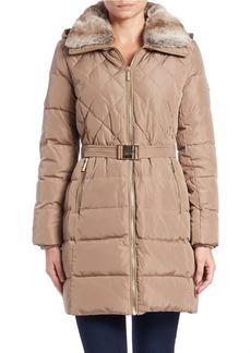 MICHAEL MICHAEL KORS Convertible Faux Fur-Collared Belted Coat