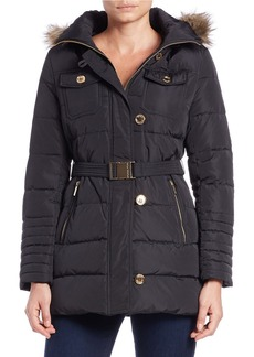 MICHAEL MICHAEL KORS Convertible Faux Fur-Trimmed Belted Coat