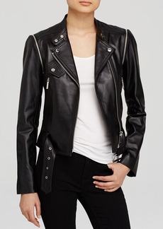 MICHAEL Michael Kors Convertible Leather Moto Jacket