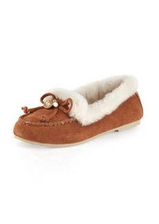 MICHAEL Michael Kors Cori Fur-Lined Suede Moccasin, Luggage