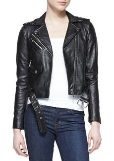MICHAEL Michael Kors Cropped Belted Moto Jacket