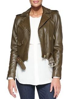 MICHAEL Michael Kors Cropped Leather Moto Jacket
