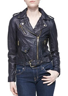 MICHAEL Michael Kors Cropped Leather Moto Jacket, New Navy