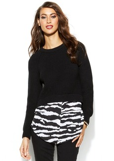 MICHAEL Michael Kors Cropped Printed Layered-Look Sweater
