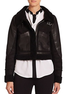 MICHAEL MICHAEL KORS Cropped Shearling & Leather Aviator Jacket