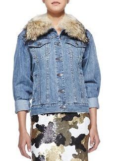 MICHAEL Michael Kors Denim Jacket with Fur Collar