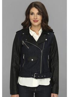 MICHAEL Michael Kors Denim Moto Jacket w/ Faux Leather Sleeves