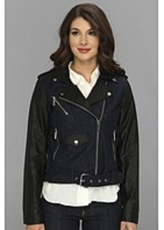 MICHAEL Michael Kors Denim Moto Jacket w/ Faux Leather Sleeves