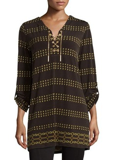 MICHAEL Michael Kors Diamond-Print Chain Lace-Up Tunic