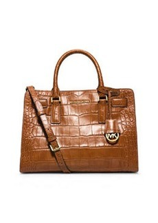 MICHAEL Michael Kors Dillon Croc-Embossed Satchel Bag, Walnut