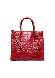 MICHAEL Michael Kors Dillon Large Croc-Embossed Tote Bag, Red