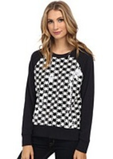 MICHAEL Michael Kors Dogtooth Sequin Long Sleeve Terry Top