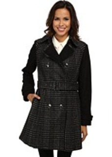 MICHAEL Michael Kors Double Breasted Two-Tone Plaid Trench