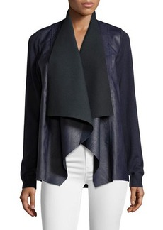MICHAEL Michael Kors Draped Faux-Leather Cardigan