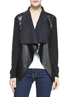MICHAEL Michael Kors Draped Faux Leather/Jersey Jacket