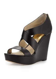 MICHAEL Michael Kors Elena Leather Wedge Sandal, Black