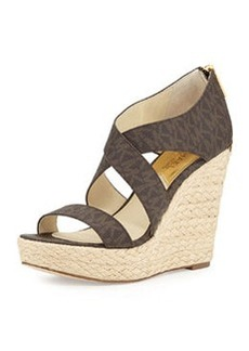 MICHAEL Michael Kors Elena MK Signature Wedge, Brown