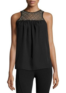 MICHAEL Michael Kors Embellished Lattice-Yoke Tank