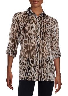 MICHAEL MICHAEL KORS Embellished Leopard-Print Blouse