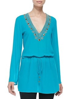 MICHAEL Michael Kors Embellished-Neck Top W/ Drawstring
