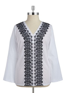 MICHAEL MICHAEL KORS Embroidered Cotton Blouse
