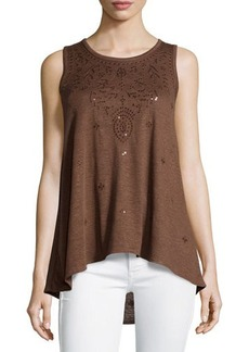 MICHAEL Michael Kors Embroidered High-Low Tank
