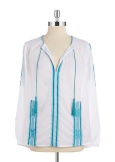 MICHAEL MICHAEL KORS Embroidered Peasant Top