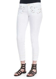 MICHAEL Michael Kors Embroidered Skinny Ankle Jeans