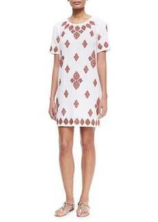 MICHAEL Michael Kors Embroidered T-Shirt Dress, White/Red