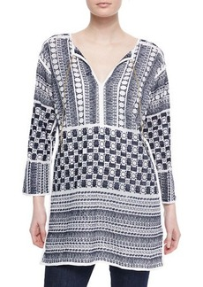 MICHAEL Michael Kors Embroidered V-Neck Tunic
