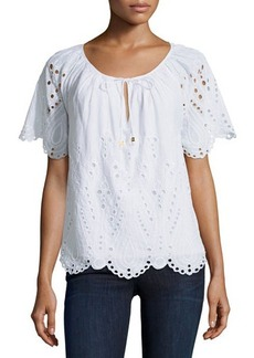MICHAEL Michael Kors Eyelet-Embroidered Cotton Peasant Blouse