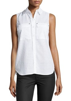 MICHAEL Michael Kors Eyelet Sleeveless High-Low Blouse