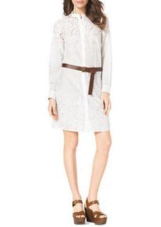 MICHAEL Michael Kors Eyelet-Trim Belted Cotton Dress