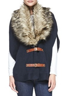 MICHAEL Michael Kors Faux-Fur-Collar Buckled Poncho, Women's