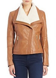 MICHAEL MICHAEL KORS Faux Fur-Collared Leather Jacket