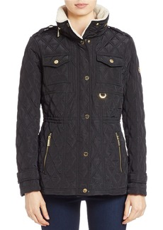 MICHAEL MICHAEL KORS Faux Fur-Collared Quilted Coat