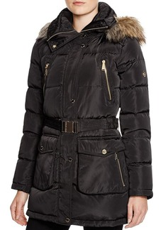 MICHAEL Michael Kors Faux Fur Trim Coat