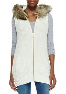MICHAEL Michael Kors Faux-Fur-Trim Knit Vest