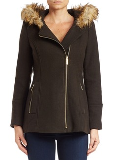 MICHAEL MICHAEL KORS Faux Fur-Trimmed Asymmetrical-Zip Coat