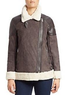 MICHAEL MICHAEL KORS Faux Fur-Trimmed Asymmetrical Zip-Front Jacket